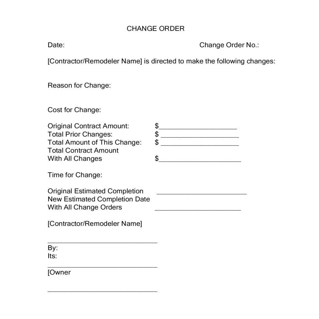 Construction Change Order Form Unique Change Orders During A Construction Project Contract Template Doctors Note Template Order Form