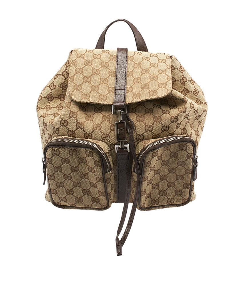 Gucci Brown Beige Canvas Leather Duffle Bag Leather Duffle Bag Bags Leather