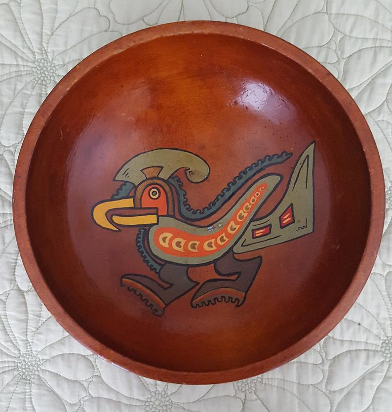 Wooden Bowl Tole Painting Native Aztec Bird Colorful Rustic Primitive Decor Heavy Round Wood Bowl Hand Turned Hand Painted Boho Gift Her Him #tolepainting