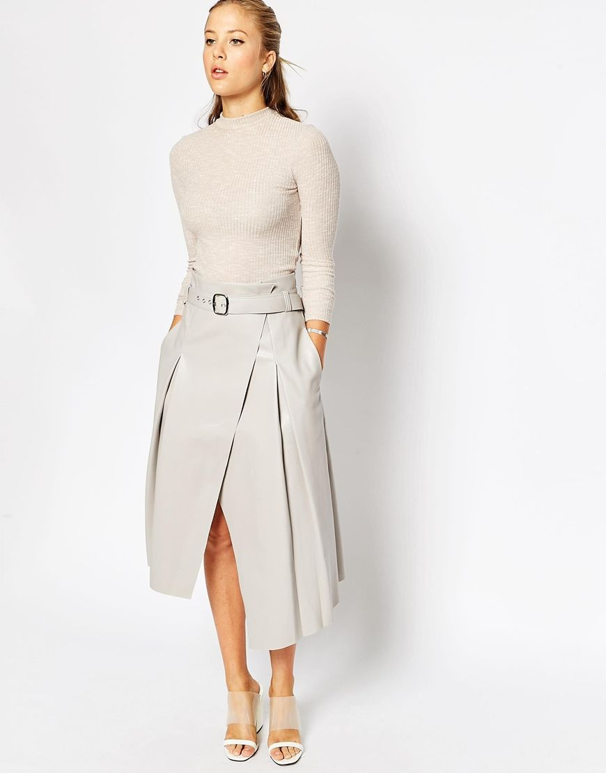 Image 1 of ASOS Midi Skirt In Leather Look With Wrap Detail ...