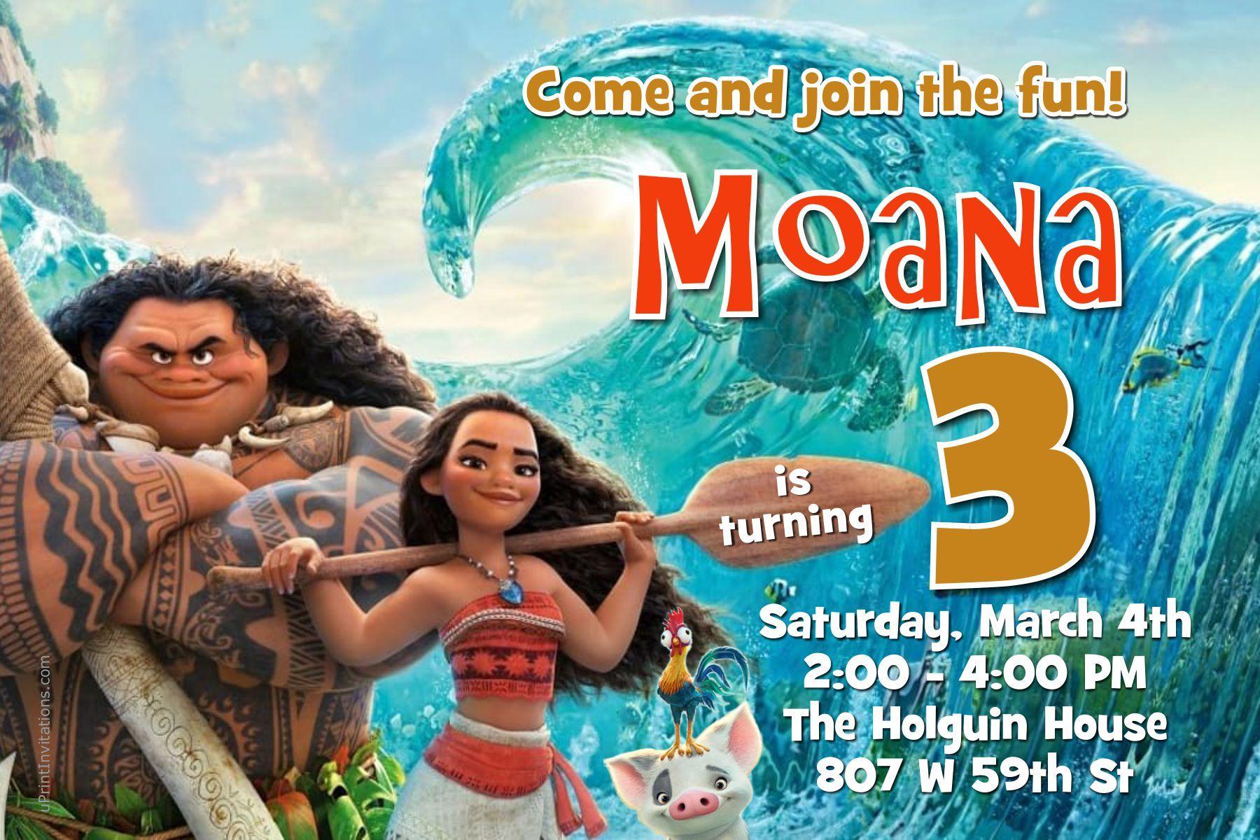 moana birthday invitations digital