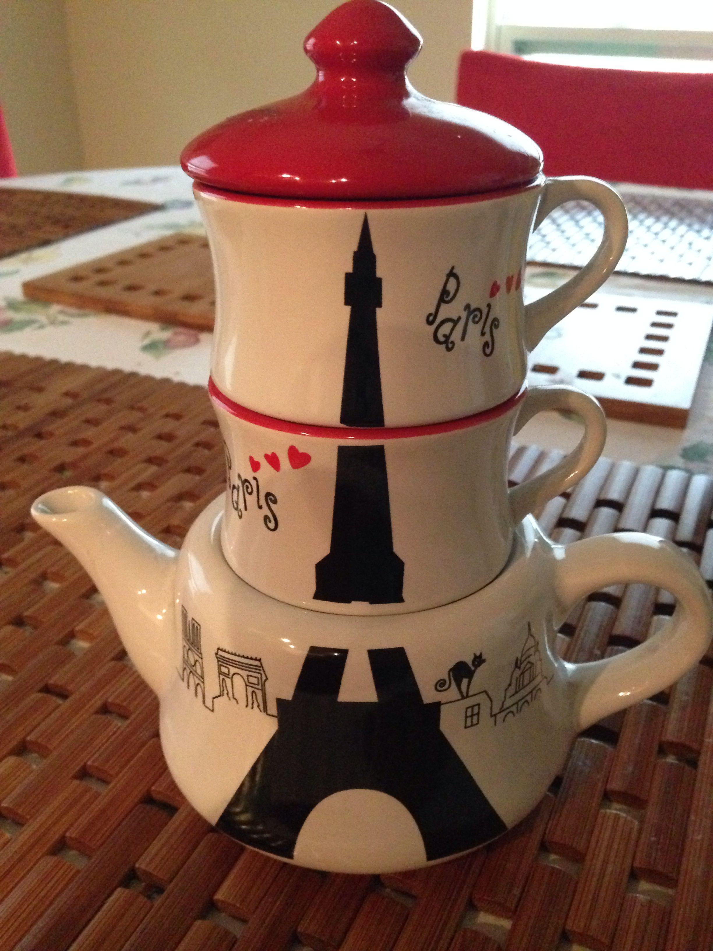 Paris teapot and cups. My favorite souvenir from Paris!