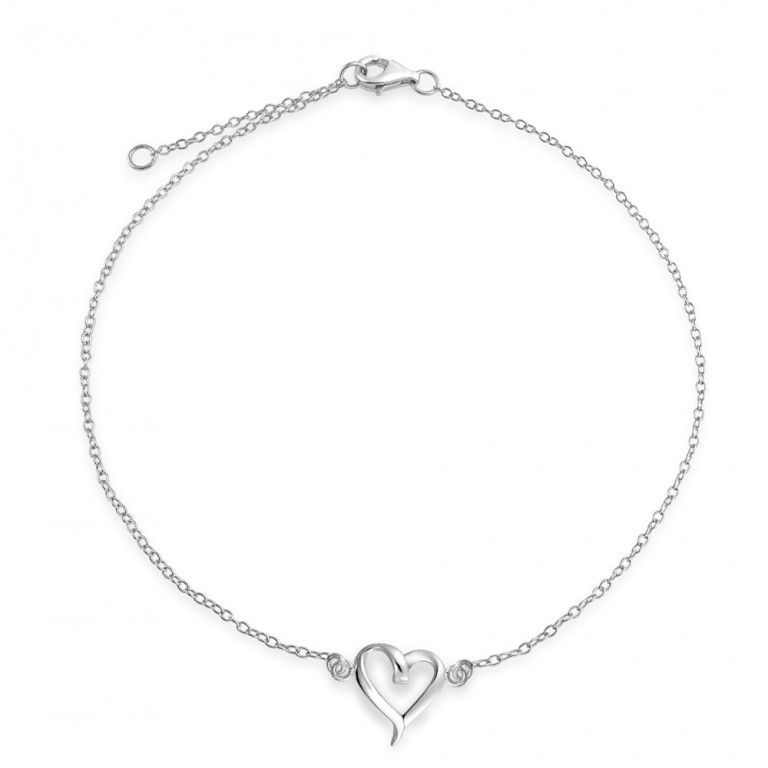 Sterling Silver Open Hearts Chain Anklet