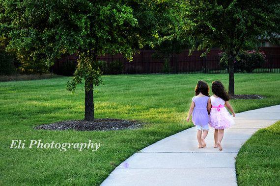 Beautiful print of two sisters walking down a road. by PrintsbyEli