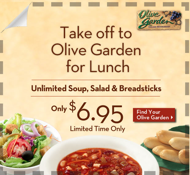 Olive Garden Unlimited Soup Salad And Breadsticks For 6 95 Olive Garden Coupons Yummy Lunches Free Printable Coupons