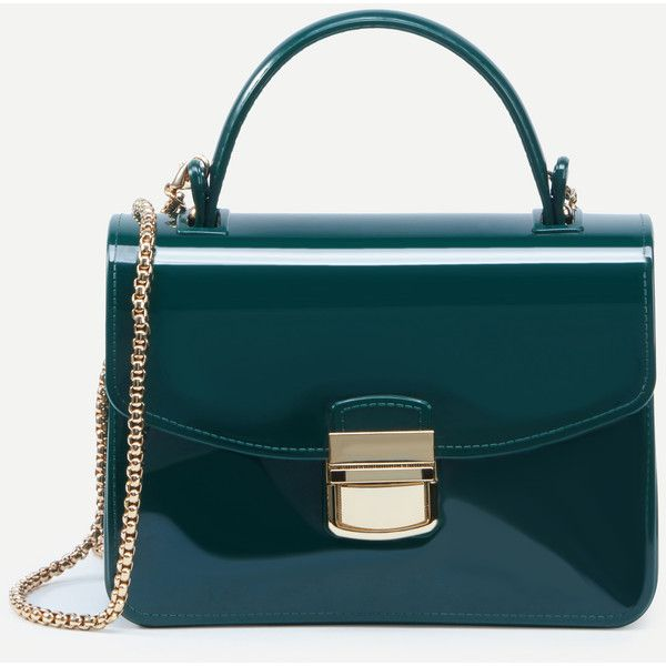 Shein Sheinside Green Pushlock Closure Plastic Handbag With Chain 15 Liked On Polyvore Featuring Bags Handbags Blue Purse