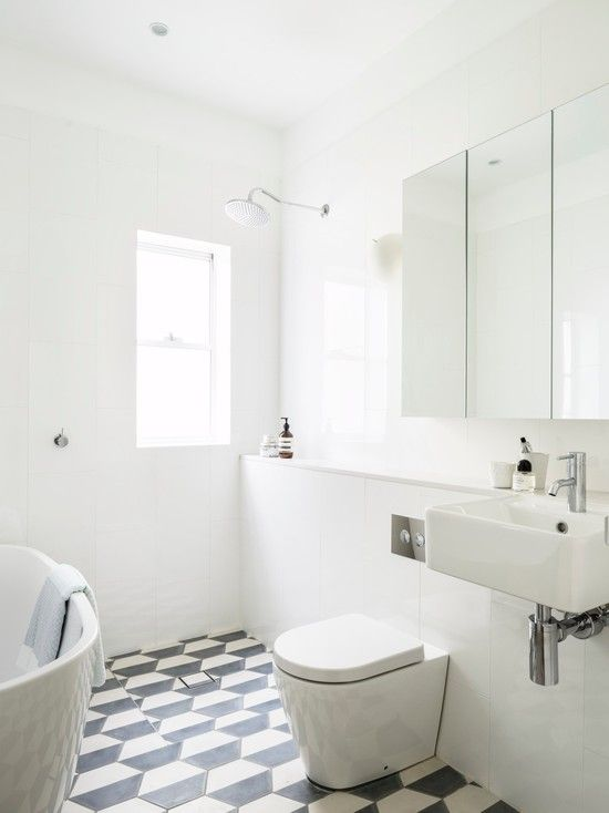 : Beach Style Bathroom With Fabulous Large Tiles Small Bathroom Also Modern Toilet Design And Mirror