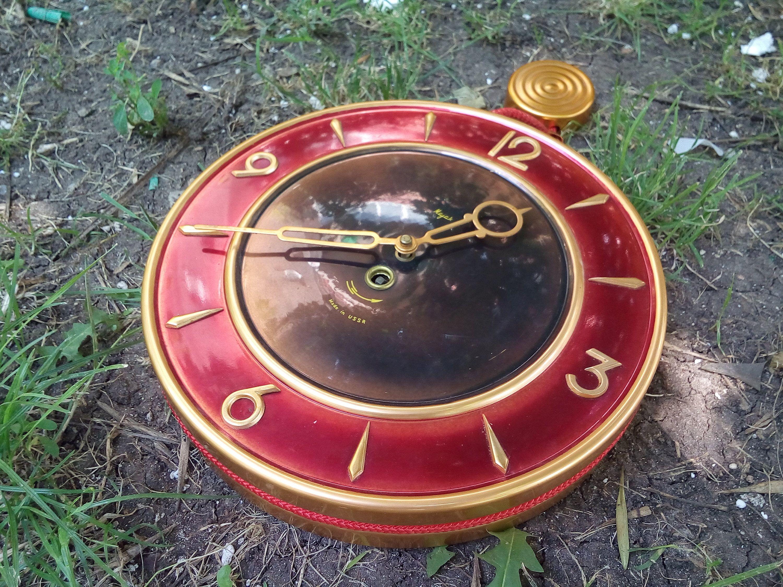 Big Vintage Russian Clock Cccp Majak Wall Clock Copper Old Russian Wall Clock Mayak Wall Clock By Ivonabg On Etsy Clock Vintage Russian Vintage