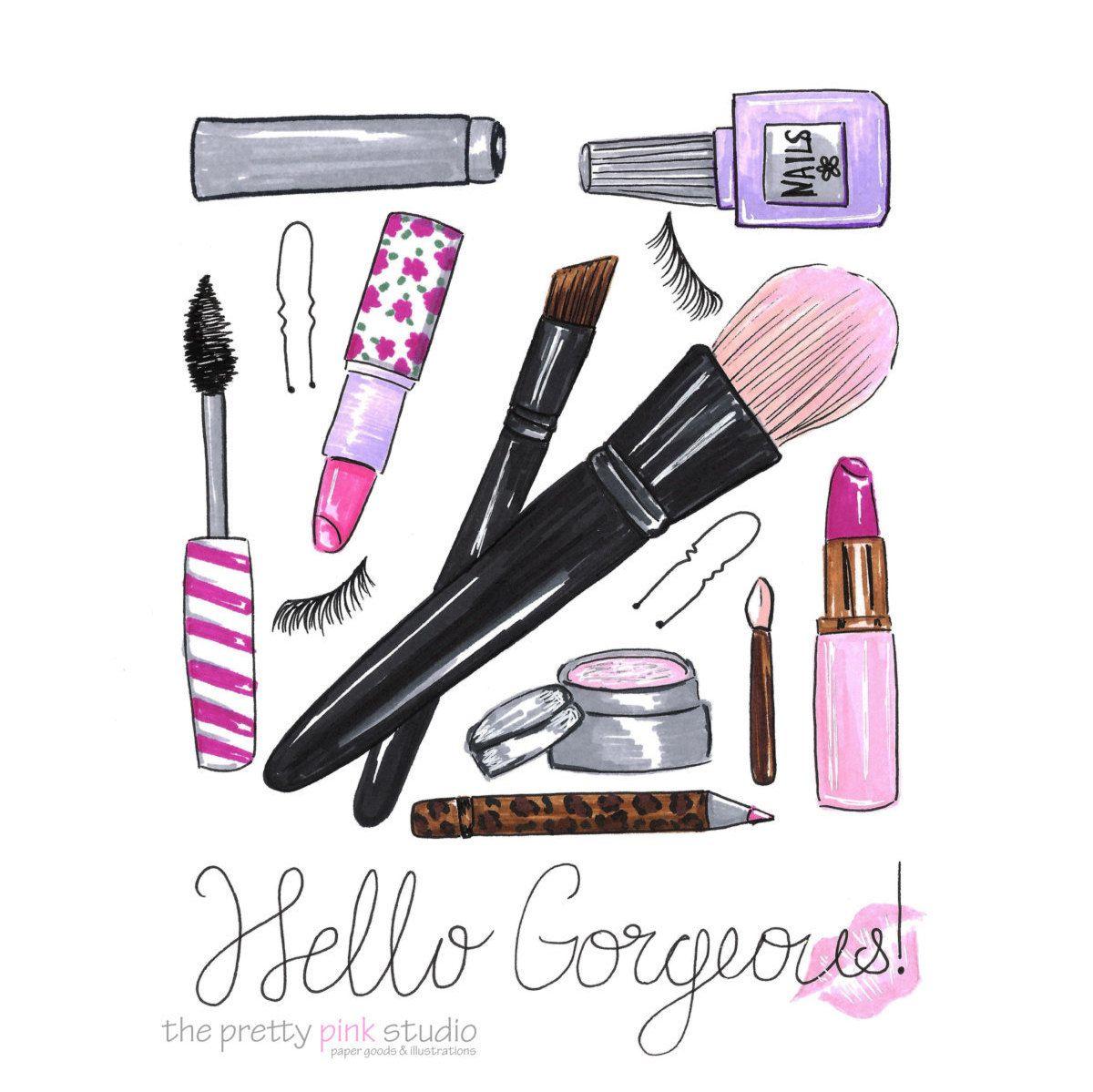 Hello GorgeousMakeup giftsWall art by theprettypinkstudio ...