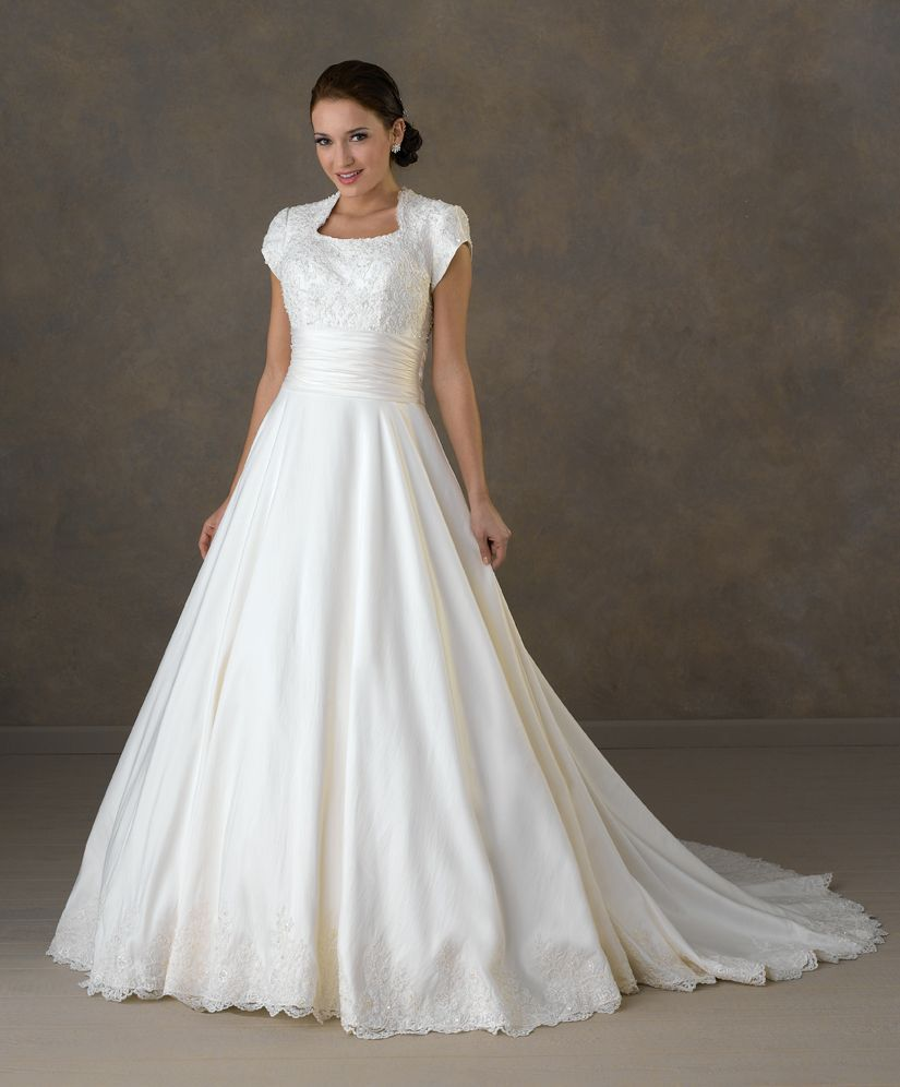 New modest white ivory bridal wedding dress ball gown for Mormon modest wedding dresses