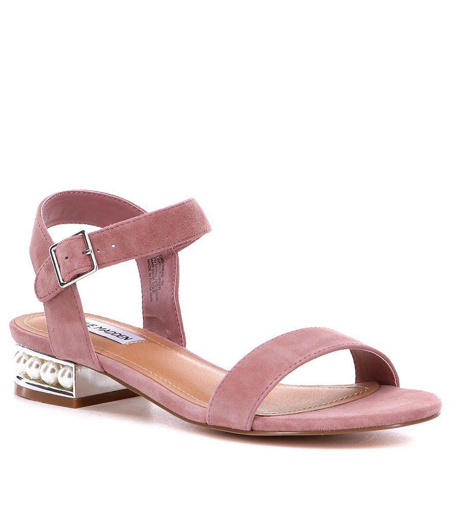Steve Madden Cashmere Pearl Detail Block Heel Suede Dress Sandals | Dillards