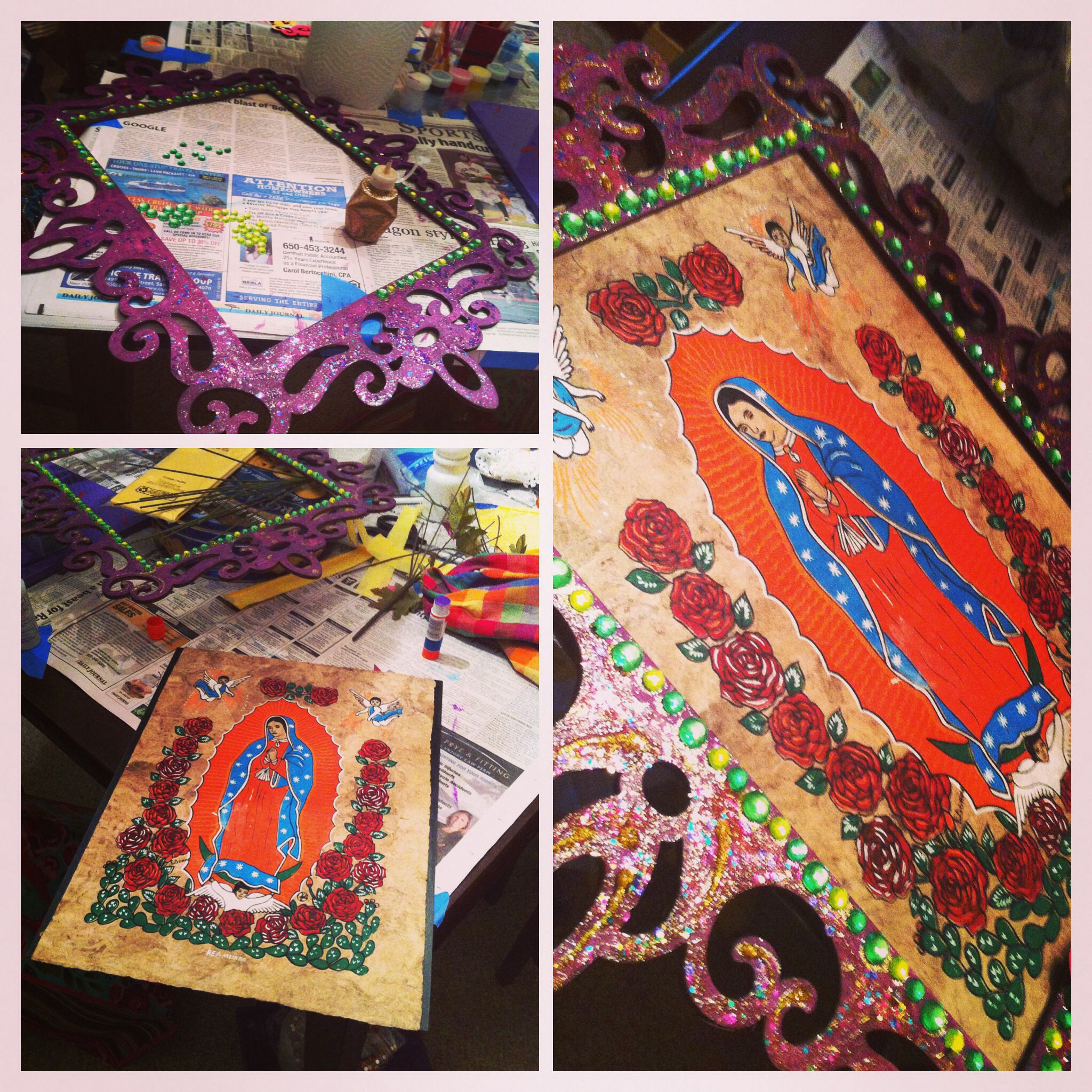 Virgen de Guadalupe frame - Dia de los Muertos decoration - Altar ...