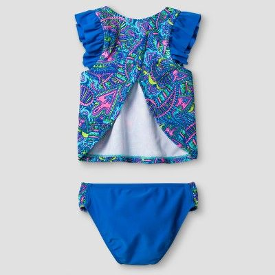 7ab5ab4e48 Little Girls  Malibu Dream Girl Paisley 2pc Fly Away Back Tankini - Blue 6X