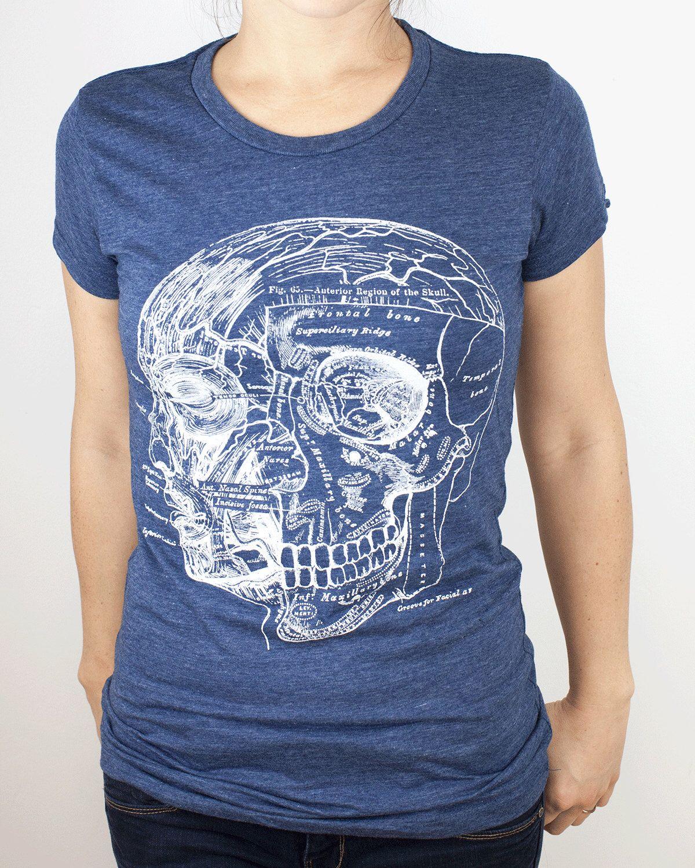Anatomy of the Skull & Head T-shirt | Anatomical, Nursing, Nurse ...