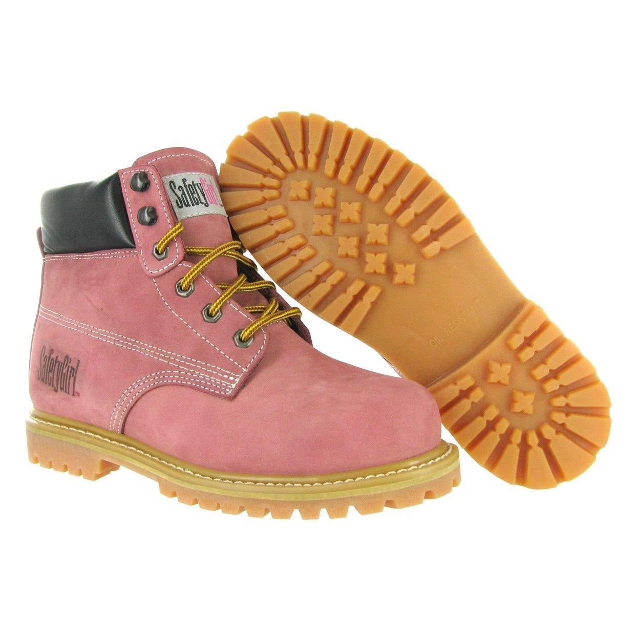 Girl Steel Toe Work Boots - Light Pink