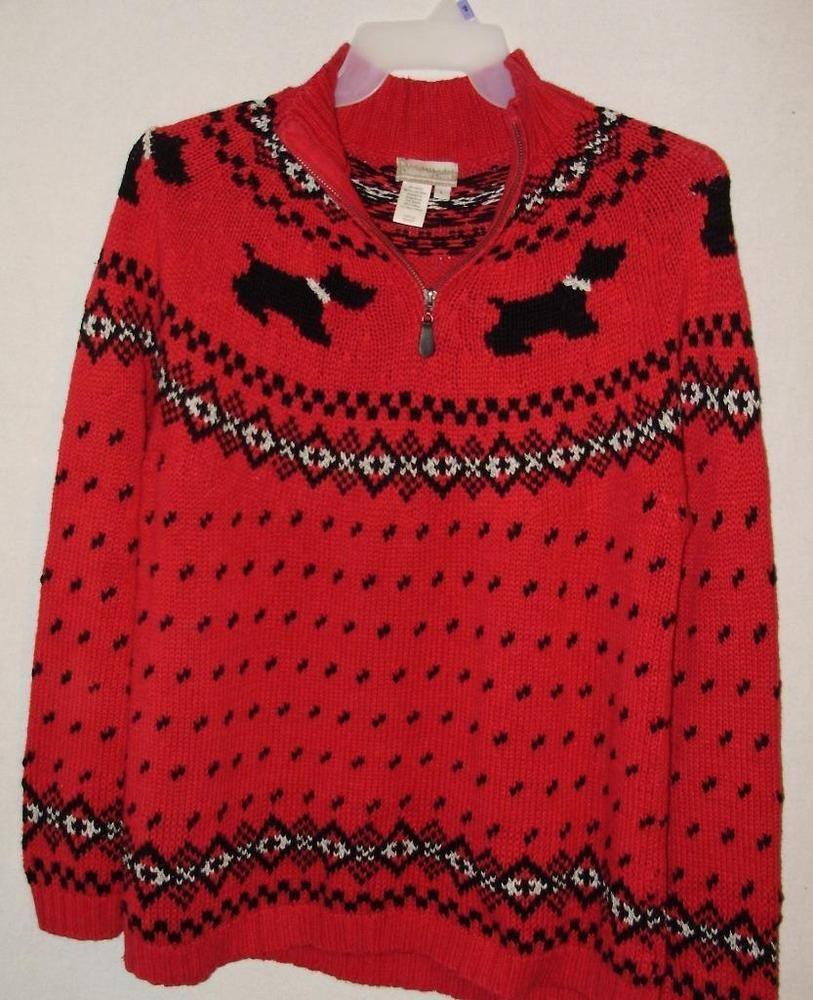 Red and black flannel cardigan  Coldwater Creek Scottie Dog Red u black SweaterSize LargeFree