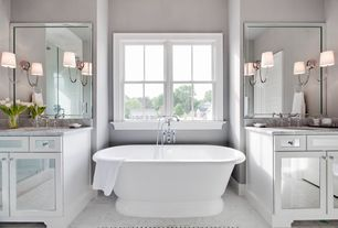 Transitional Full Bathroom with Complex marble counters, Handheld Shower Head, Shades of Light Swag Sconce - 1 Light, Flush