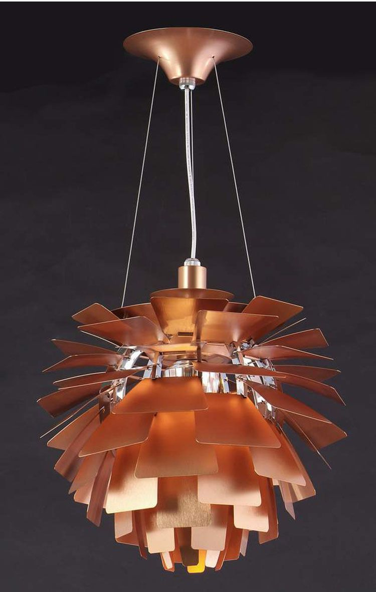 PH Artichoke lamp (Paul Henningsen, 1958) copper leaves supported on metal framework. (this link is to Chinese mfg version)