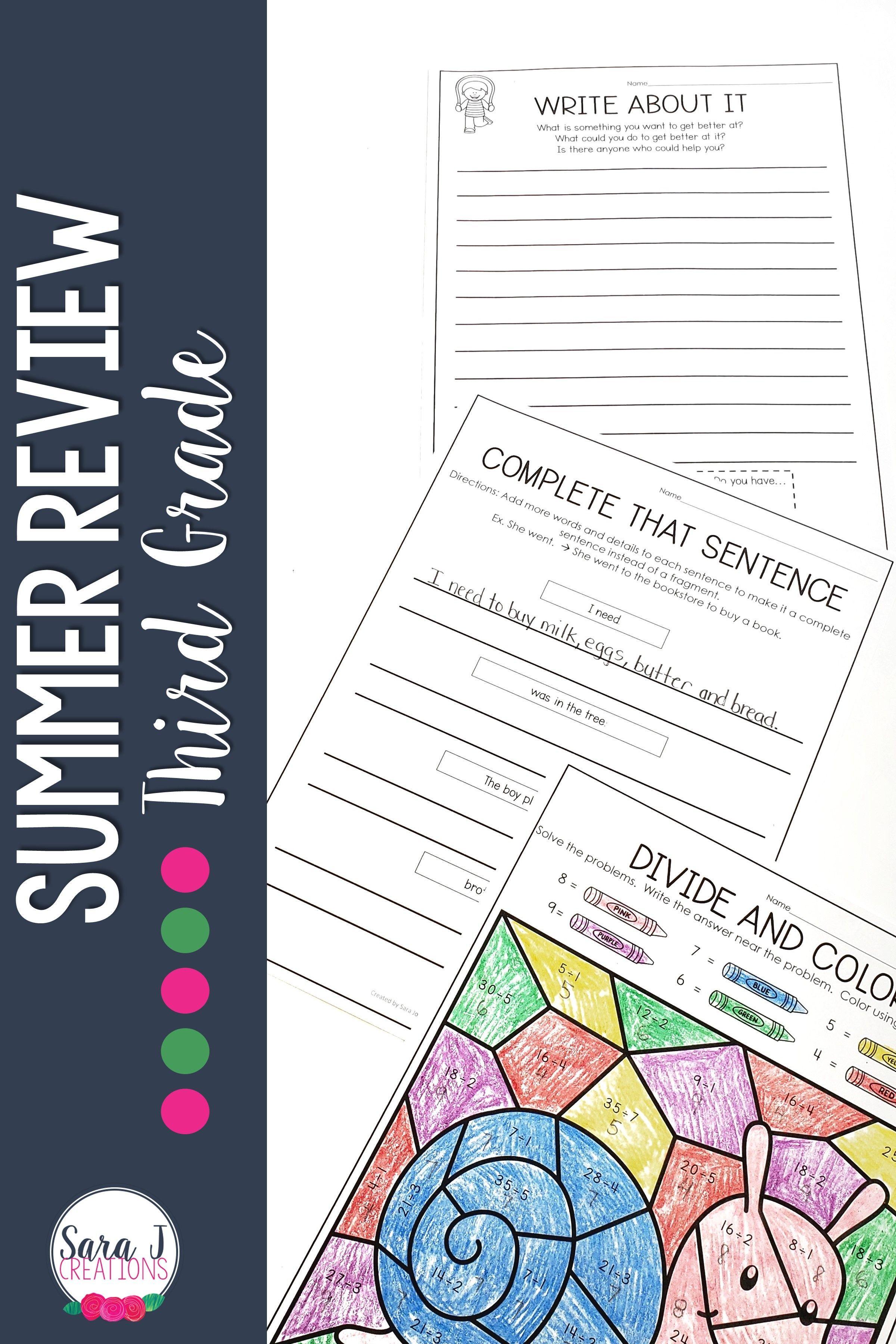 Summer Reviews Prek 4th Grade In
