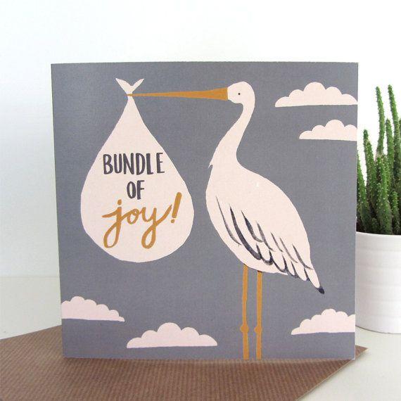 recycled greetings card with envelope bundle of joy