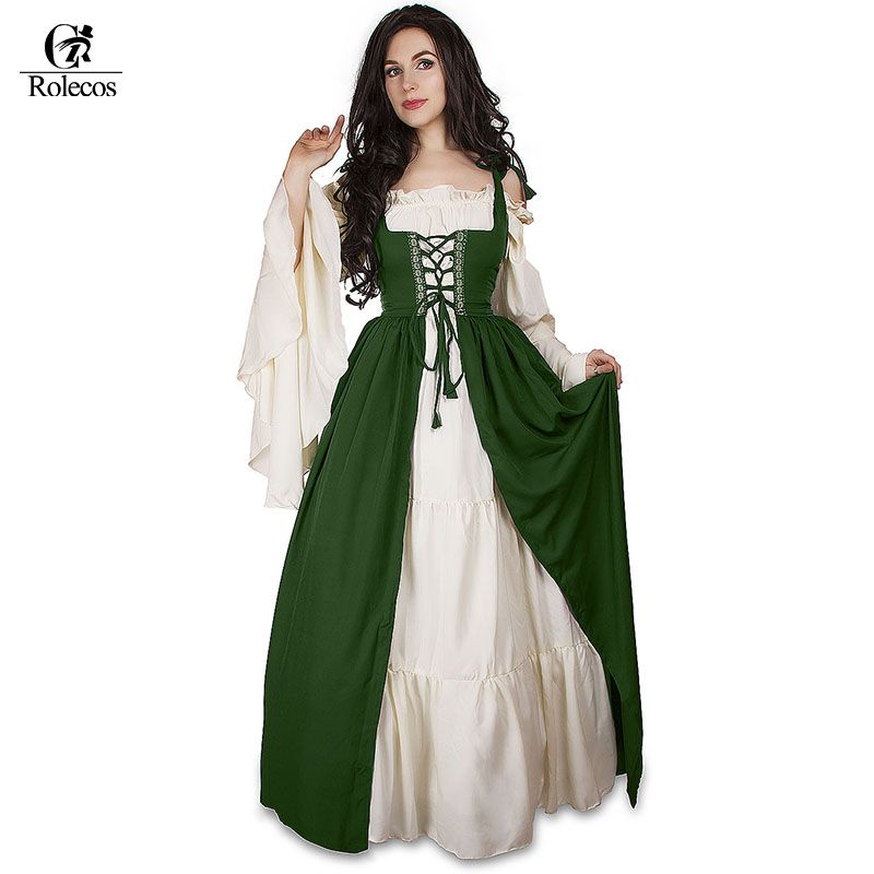 Woman\'s Renaissance Medieval Gothic Long Dresses For Halloween Ball ...