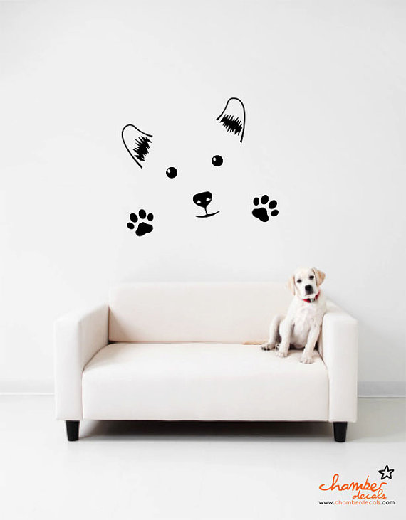Stickers little dog home decor wall stickers cute pet room decorations
