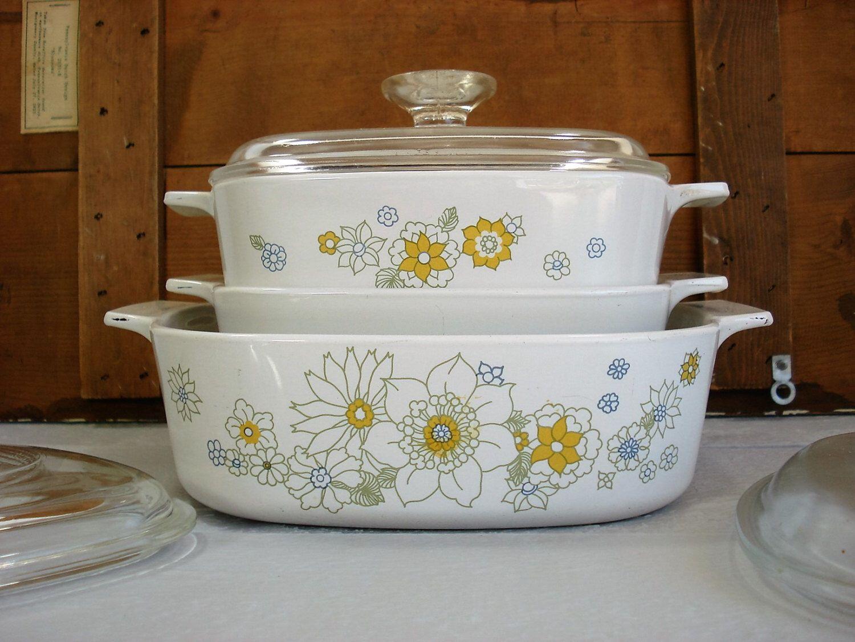 Vintage Corning Ware Floral Bouquet Daisy P-2-1/2-B Casserole Baking ...