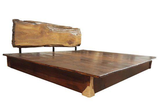 King Platform Bed Urban Slab Headboard Wood Platform Bed Frame