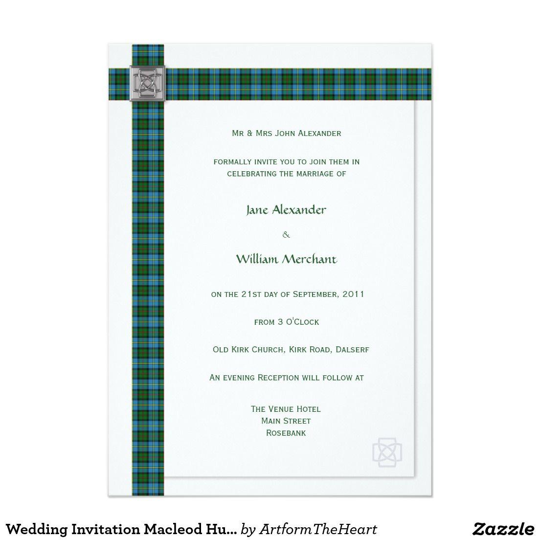 Wedding Invitation Macleod Hunting Tartan Plaid | TARTAN WEDDING ...