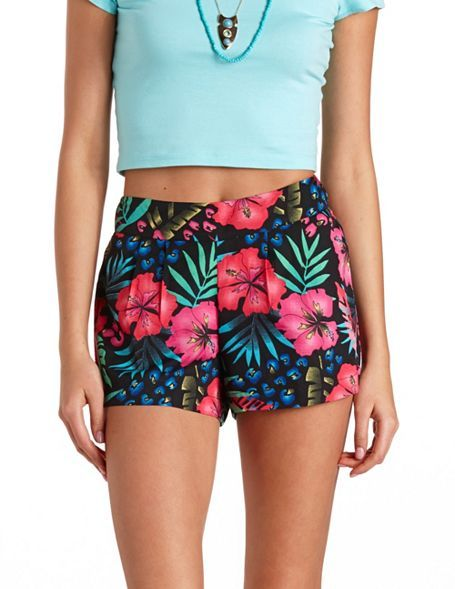 Pleated Tropical Print High-Waisted Shorts: Charlotte Russe