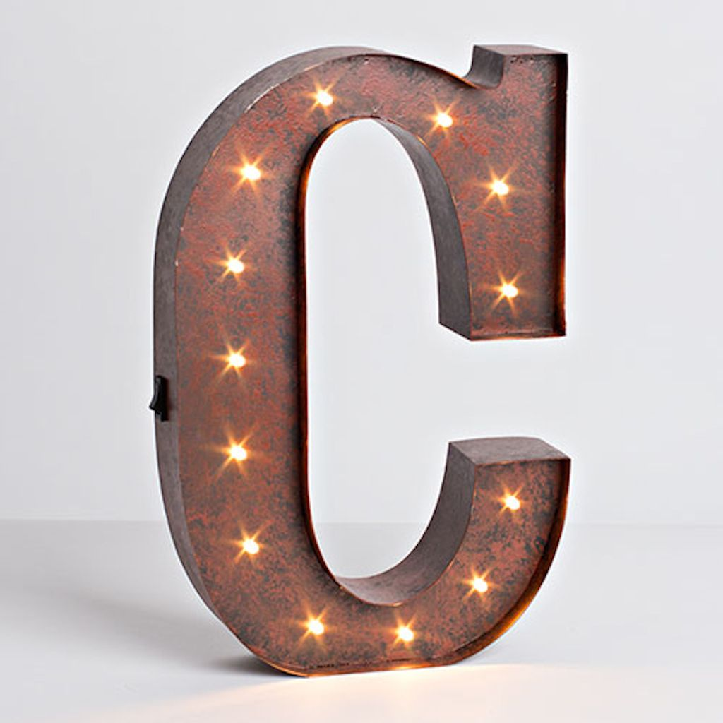 "Brown Metal Letters 12"" Rustic Brown Metal Battery Operated Led Lighted Letter ""c"