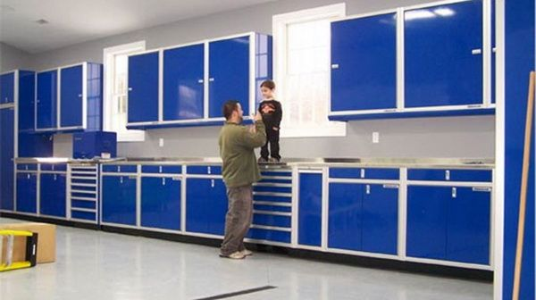 Or Build Garage Cabinet Blue Ideas With Yellow Stairs Inspiration