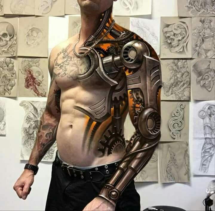 59c5fefe1 Mechanical Arm full sleeve tattoo... Amazing! | Tattoo Arts | Robot ...