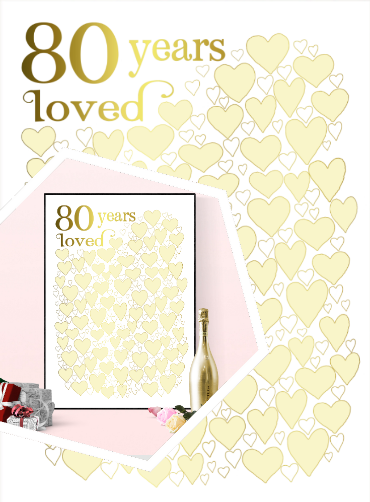 80 Years Loved 80th Birthday Party Guest Book Poster Gold 80th Birthday Party Guests 80th Birthday Gifts