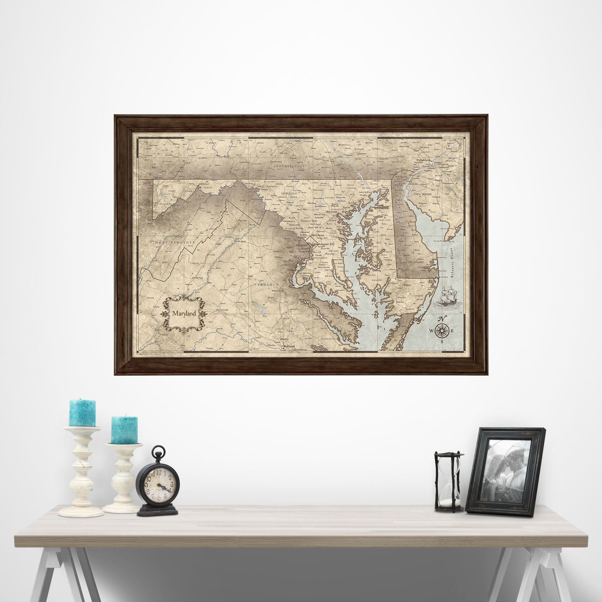 Maryland state map poster print Maryland Poster