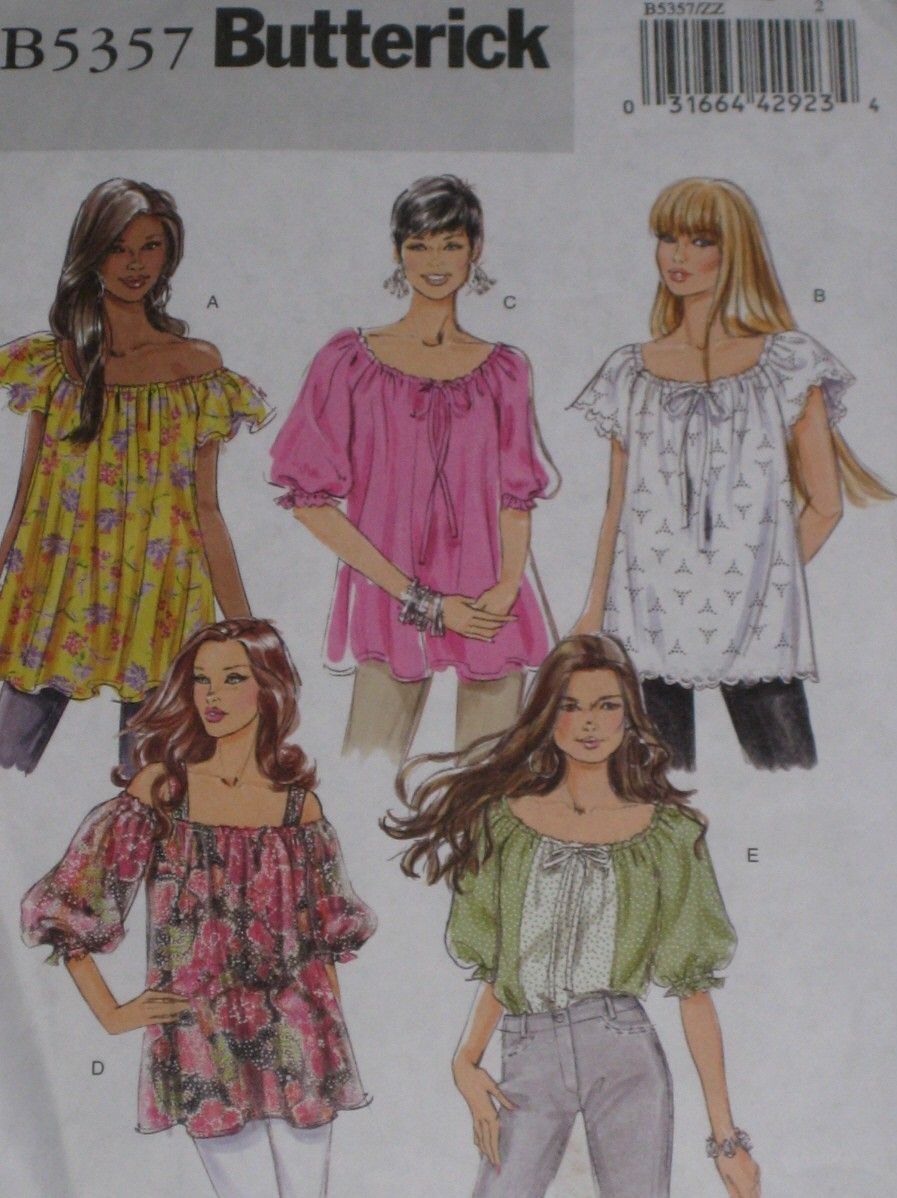 Hippy BoHo Peasant Top Sewing Pattern Butterick 5357 Plus Size Large ...
