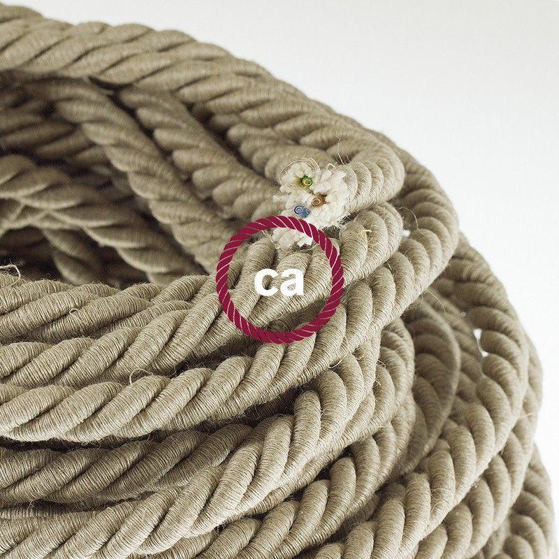 Corde Xl Cable Electrique 3x0 75 Revetement En Lin Naturel Diametre 16mm Linge Naturel Toile De Lin Cable Electrique