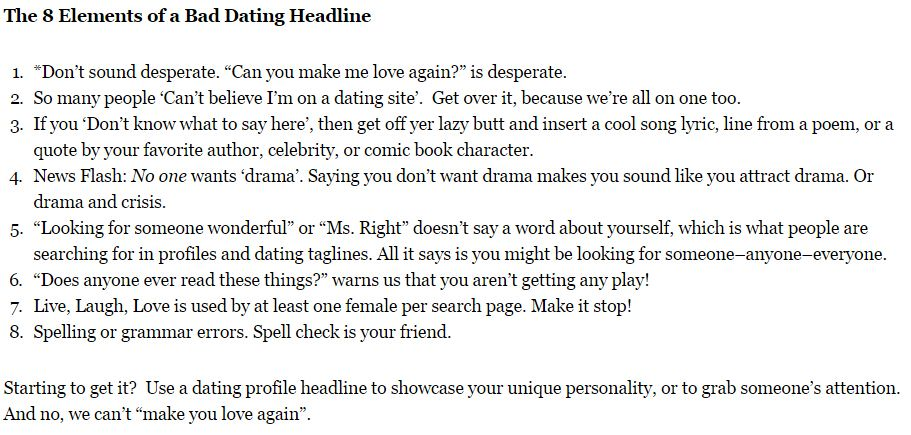 Online dating profile headline tips