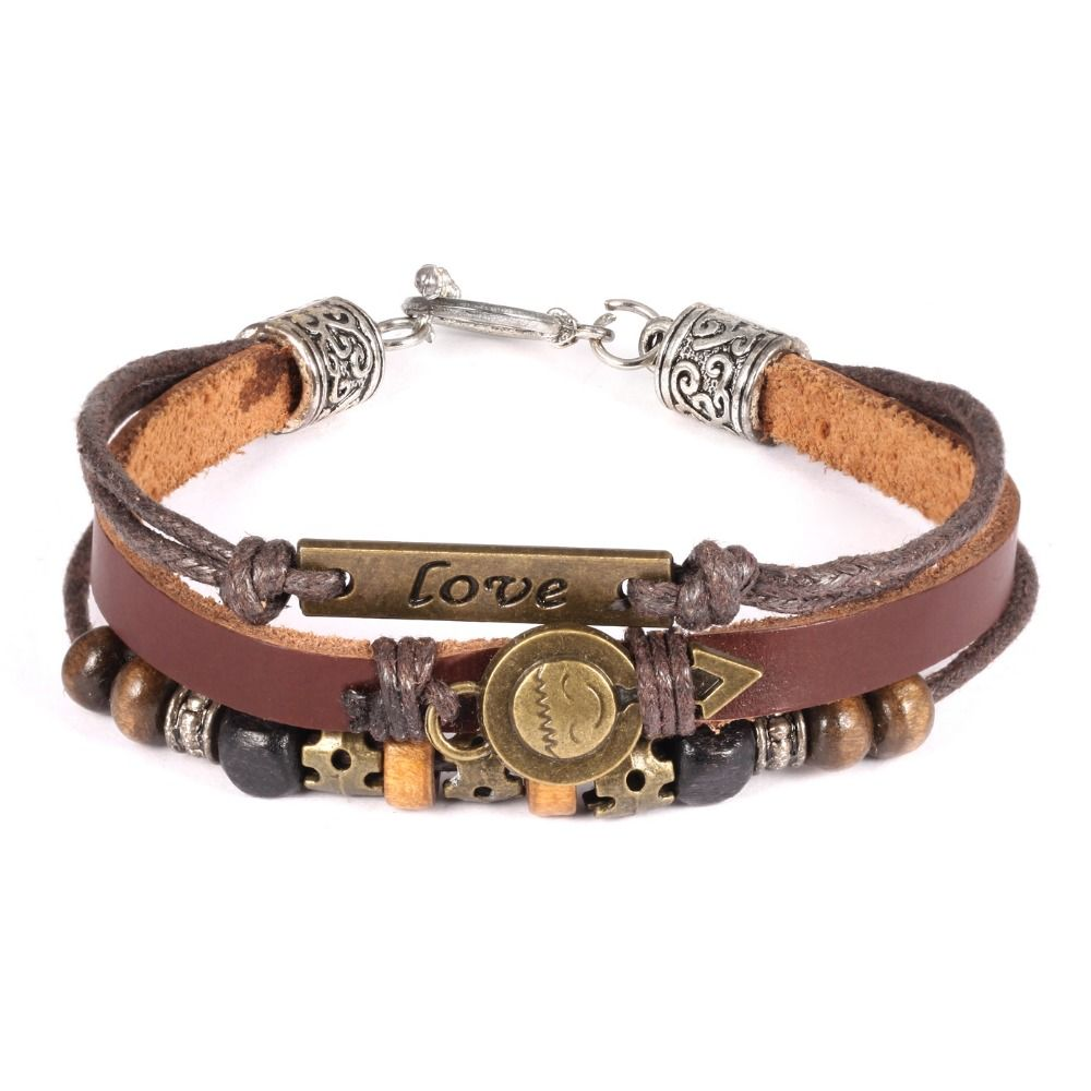 Classical three layers leather with alloy men adn women jewelry
