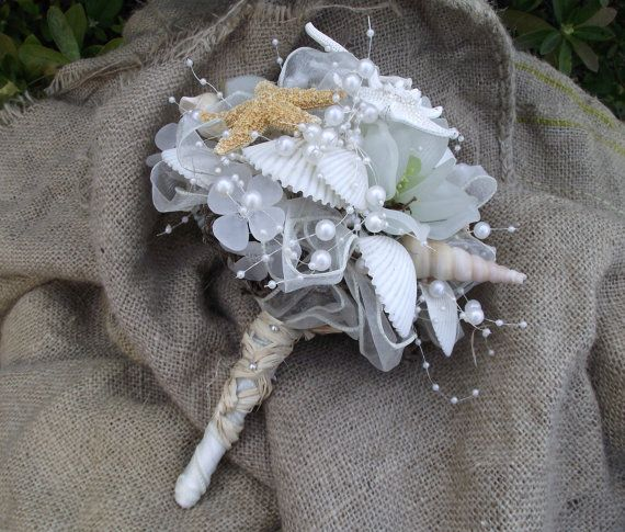 Sea Shell Bride Bouquet White And Ivory Pearl Beach Wedding Nautical Coastal Bridal Starfish