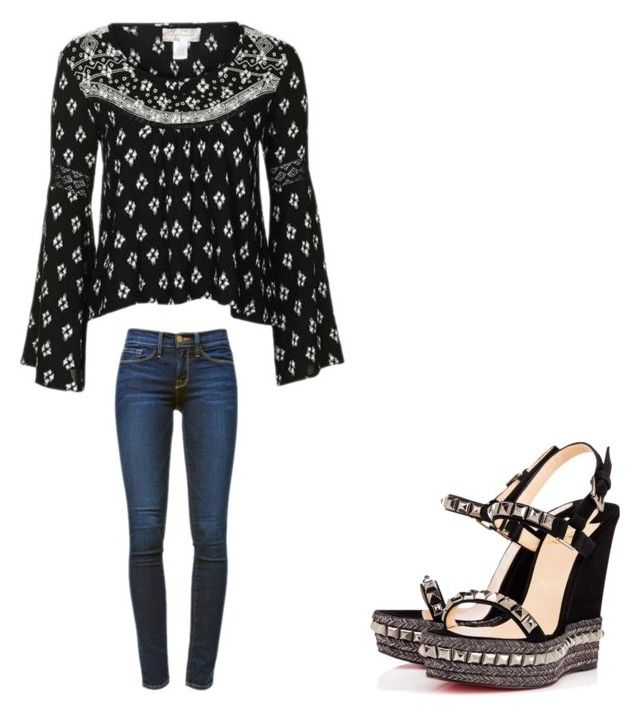 """😘"" by melodyleighmitchell on Polyvore featuring Topshop, Frame Denim and Christian Louboutin"