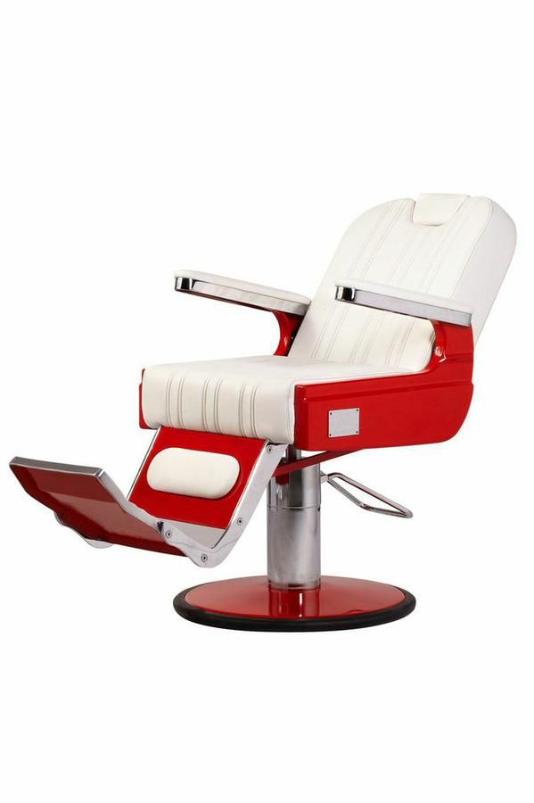 white barber chair uk la z boy lift hand control the confort is a quality bespoke handmade to client specification shown here in racey red www salonfurniture co