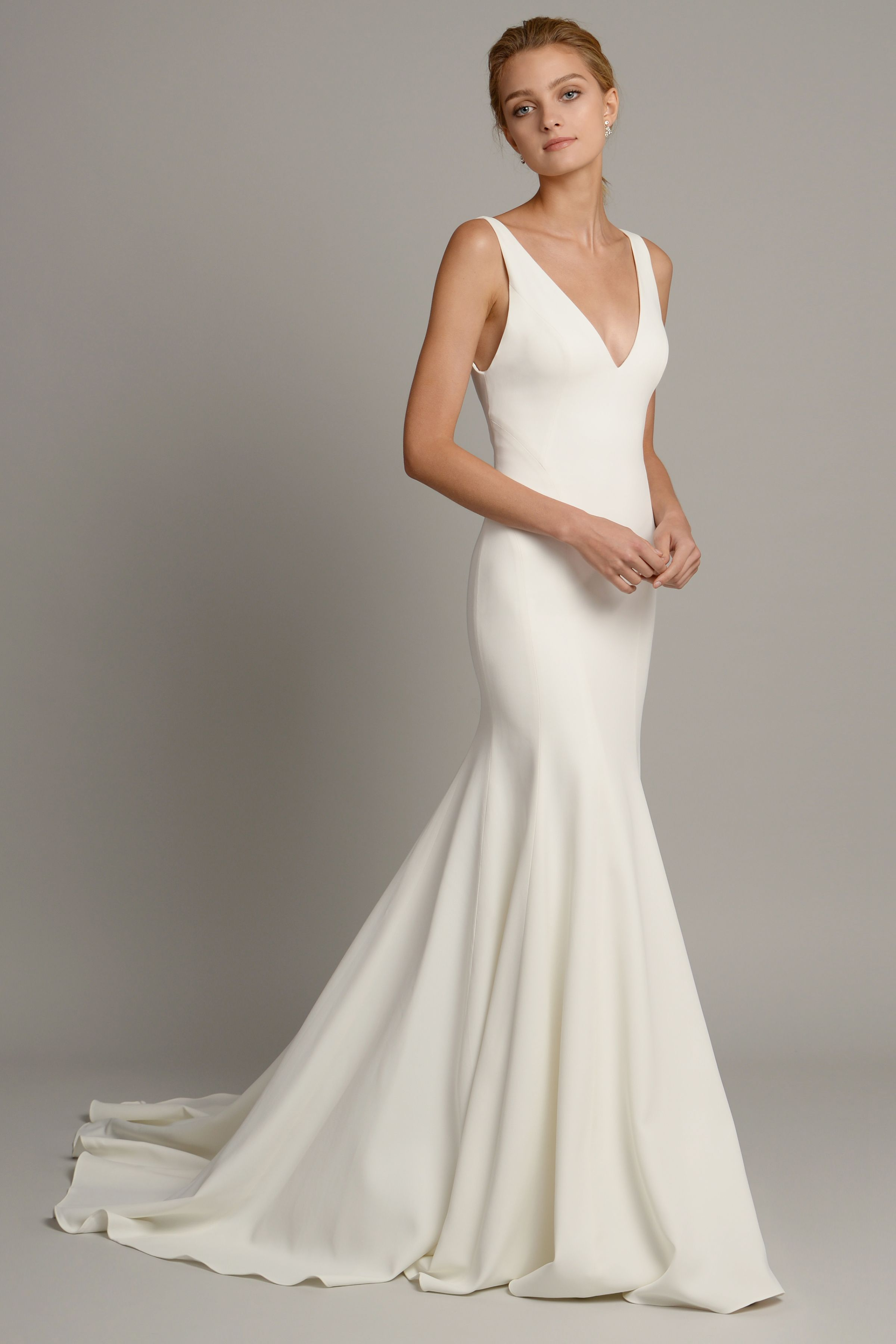 cee99d236c54 Introducing the Finley gown by Jenny Yoo x Lovely Bride Spring 2019! This wedding  dress features a deep, clean pluning v-neckline for a chic, simple, ...