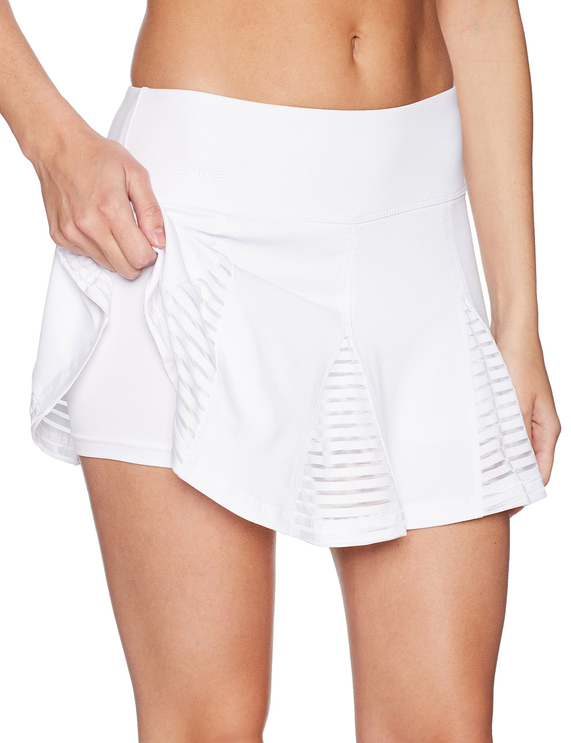 498981bca Bolle Womens Club Whites Pleated Athletic Skirt with Attached Shorts Mesh  Stripe InsetsIdeal White XLarge *** Learn more testimonials of the product  by ...