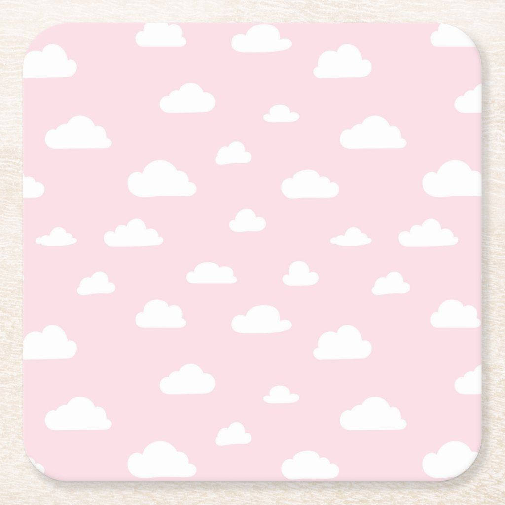 White Cartoon Clouds On Pink Background Pattern Square Paper Coaster Zazzle Com In 2021 Pink Pattern Background Cute Pink Background Pink Clouds Wallpaper