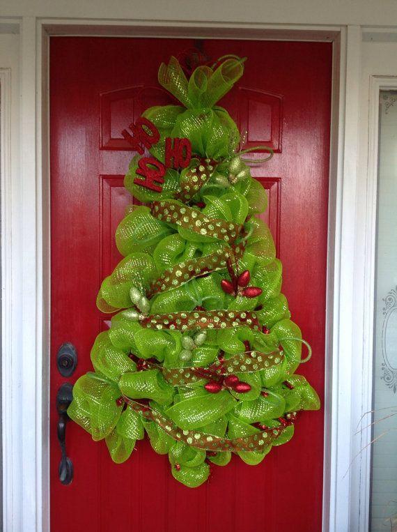 Festive Lime Green Deco Mesh Christmas Tree Wreath Or Wall