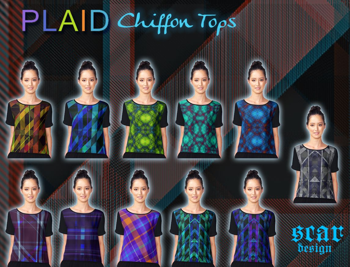 Plaid Chiffon Tops by Scar Design  #plaidgifts #plaidclothes #plaidshirt #plaidtshirt #plaidlove #women #womengifts #giftsforteens #giftsforgirls #giftsforgirlfriends #coolgifts #womenfashion #style #stylish #stylishclothing #trendy #coolshirts #fashion #giftsforher #plaid #buyshirt #buychiffontop