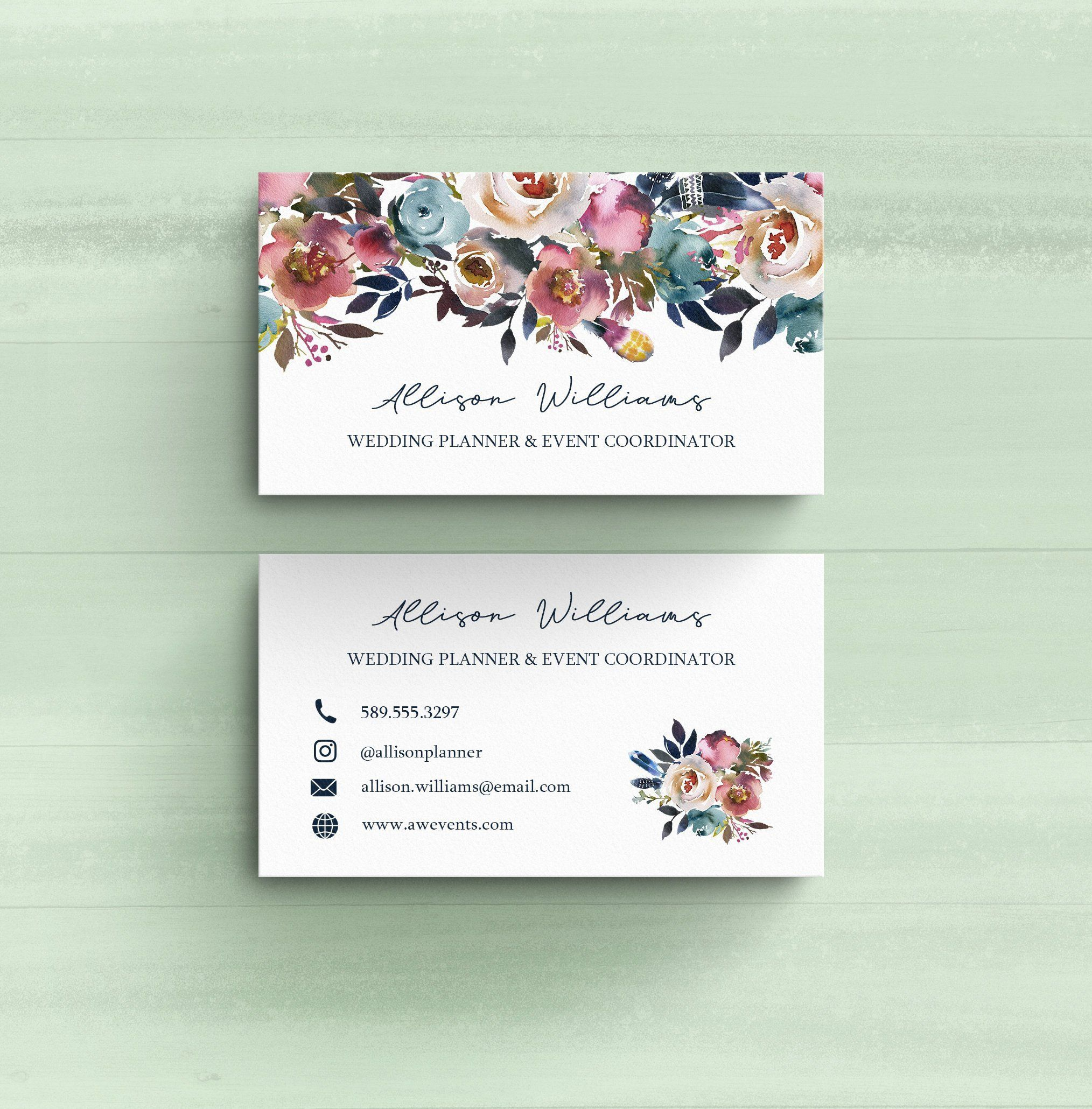 personalized floral business cards wedding planner event