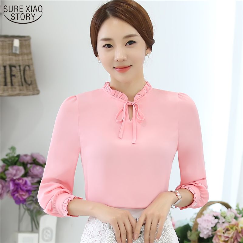 304633e49ff1c5 Women Blouses New 2017 Fashion Korean Style Long Sleeve Bow Tie Solid Shirts  Lady Chiffon Shirts Plus Size Blouses Tops 880I 25 //Price: $30.00 & FREE  ...
