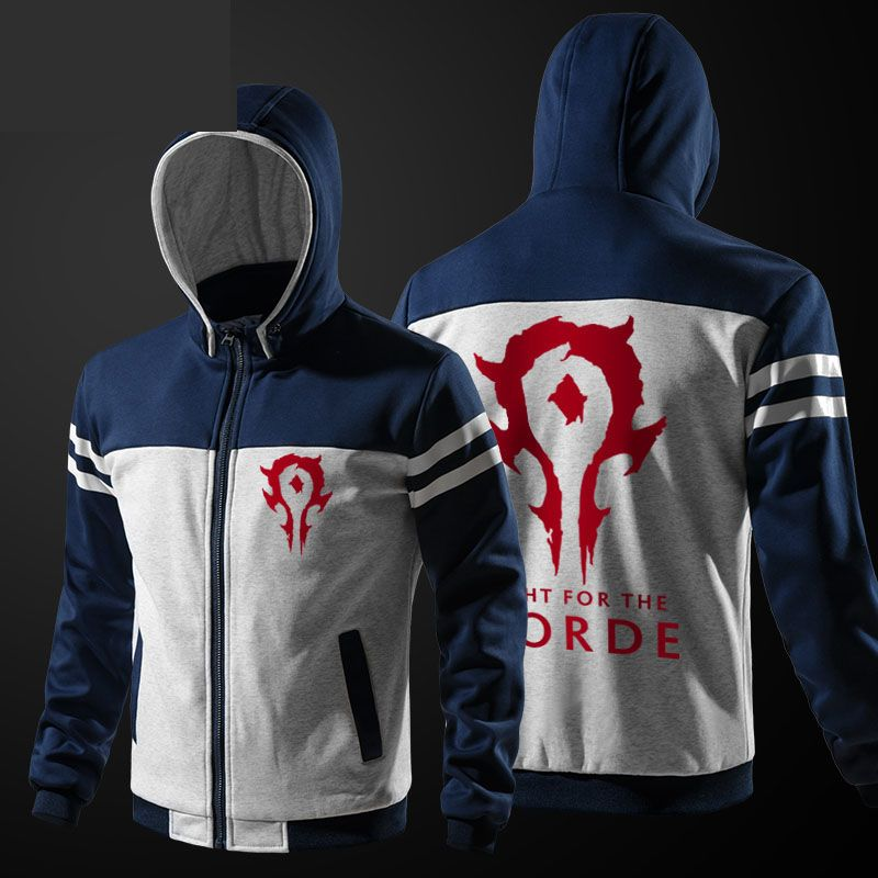 Cool World Of Warcraft Horde Hoodie Blizzard WOW Zip Up Blue